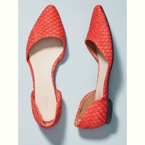 Anthropologie All Black Red Fish City Flats